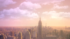 Stock Video Footage of New York City Skyline with Moving Clouds