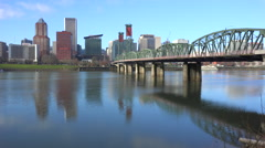 Establishing shot of Portland Oregon bridge and city. Arkistovideo