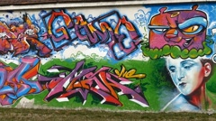 Female Face Graffiti - Street Art Stock Footage