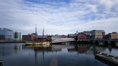 4K Time lapse zoom in Boston Tea Party Museum - stock footage