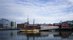 4K Time lapse zoom out Boston Tea Party Museum Stock Footage