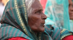 Close up of old Indian Women at temple Stock Footage