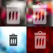Stock Illustration of trash can icon on blurred background