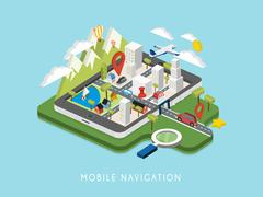 flat 3d isometric mobile navigation illustration - stock illustration