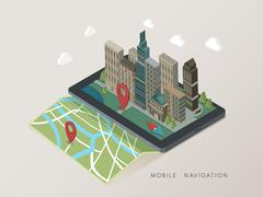 Stock Illustration of flat 3d isometric mobile navigation illustration