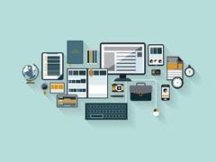 Modern office workspace in flat design Stock Illustration