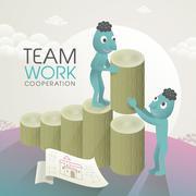 Stock Illustration of lovely team work concept