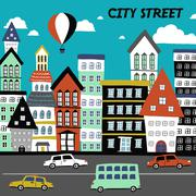 Flat design for the city street concept Piirros