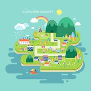 flat design for eco green concept - stock illustration