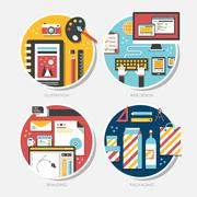Flat design for branding, illustration, packaging, web design Stock Illustration
