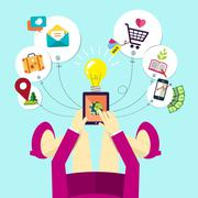 Flat design of woman holds mobile device Stock Illustration