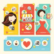 flat design concept illustration for beauty and shopping - stock illustration
