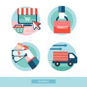 Online shopping concept flat design set Stock Illustration