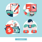 E-commerce concept flat design set Stock Illustration