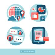 social network concept flat design  - stock illustration