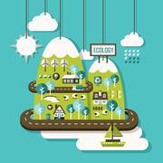 Flat design illustration concept of ecology Stock Illustration