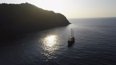 Boat at sunset aerial Stock Footage