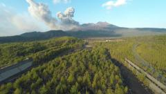 Aerial Footage Of Volcano Eruption Volcanic Ash Stock Footage