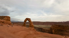 4K Time lapse wide angle Delicate Arch Utah Stock Footage
