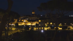 The Trajan Forum at night. Rome, Italy - stock footage
