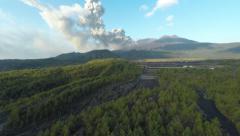 Sakurajima Volcano Erupts Large Ash Cloud Aerial Footage Stock Footage