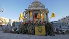 Soldiers at the Independence Monument, Kiev, Ukraine Stock Footage