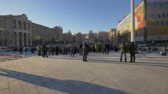 Soldiers with families in Independence Square, Kiev, Ukraine Stock Footage