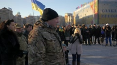 Military speech at Independence Square, Kiev, Ukraine Stock Footage