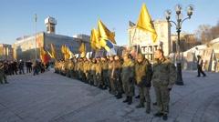 Soldiers swearing their oath of allegiance in Kiev, Ukraine - stock footage