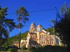 New Aphon monastery. Orthodox church. Abkhazia republic Stock Photos