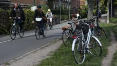 People Riding On The Bicycle Road Stock Footage