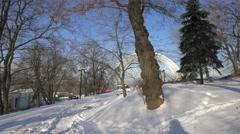 Friendship Nations Arch in winter, Kiev, Ukraine Stock Footage
