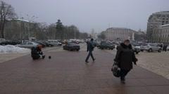 Square at Saint Michael Cathedral, Kiev, Ukraine Stock Footage