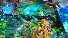 Vivid colors of artist work Stock Footage