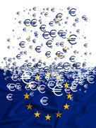 European Union flag dissolving as a simbol of crisis - stock illustration