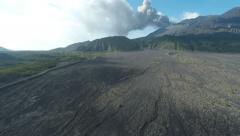 Sakurajima Volcano Erupts Ash Skyward Aerial Footage Stock Footage