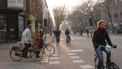 Bicycle Traffic In The City. Rush Hour At The Crosroads Stock Footage