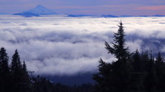 Time lapse of clouds moving across the Oregon Cascade Range with Mt. Jefferson - stock footage