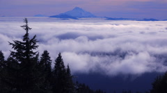 Time lapse of clouds moving across the Oregon Cascade Range with Mt. Jefferson Stock Footage