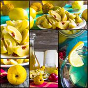 Collage tincture quince fruit apple alcohol intake Stock Photos