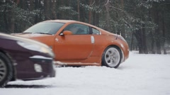 Risky traffic situations with car skid on slippery icy roads slow motion Stock Footage