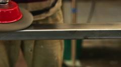 Men At Work Polishing Steel Stock Footage