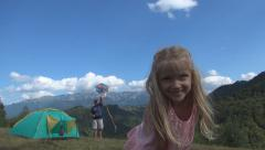 Happy Child Laughing, Playing Girl Portrait Father Kite Camping Tent Mountains Stock Footage