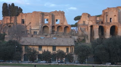 The Roman Forum on Palatine Hill in Rome, Italy Stock Footage