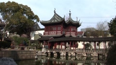 Traditional Building in Shanghai Gardens Stock Footage