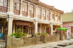 Penang Colonial style architecture is visible in this old, historical building. Stock Photos
