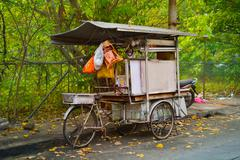 Penang Mobile vendor's food stall mounted on an improvised tricycle Stock Photos
