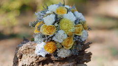 Wedding yellow bouquet outdoor.Isolated. Stock Footage