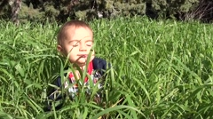 Toddler crawls in high grass Stock Footage
