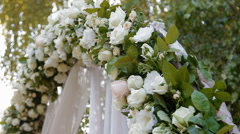 Wedding arch with natural roses Stock Footage